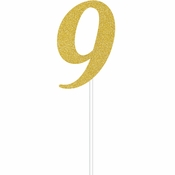 Gold Glitter #9 Cake Toppers 12 ct