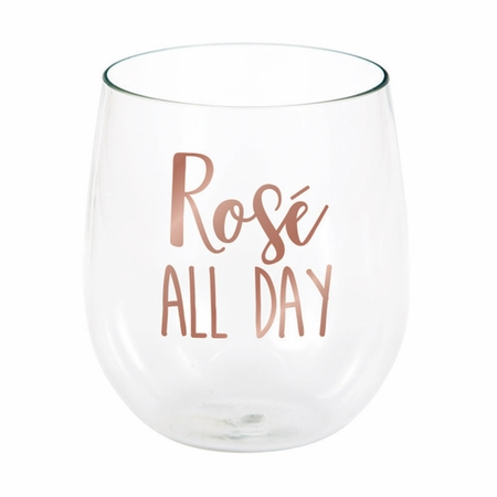 Rose All Day Plastic Stemless Wine Glasses 6 ct