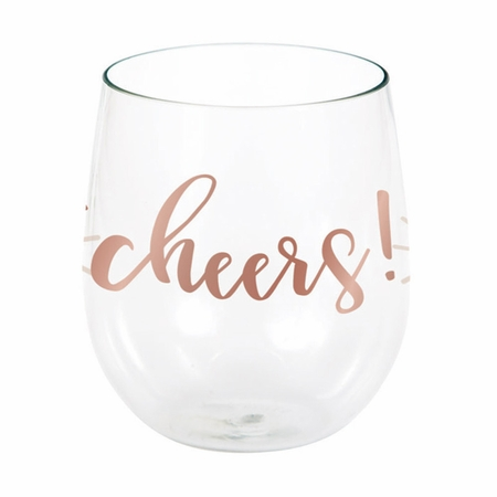 Rose All Day Cheers Plastic Stemless Wine Glasses 6 ct