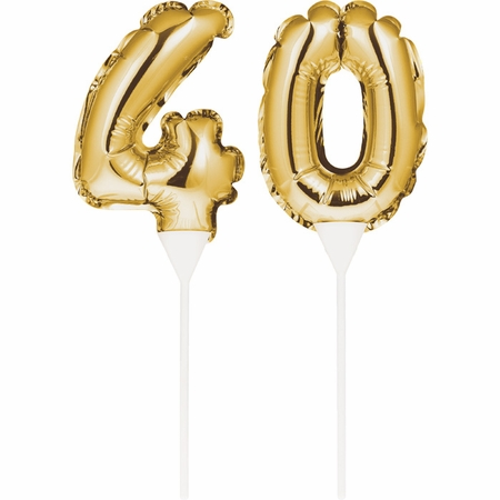 40 Gold Number Balloon Cake Toppers 24 ct