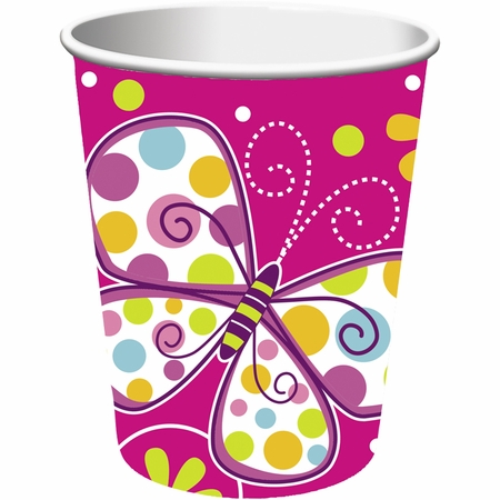 Pink Butterfly Sparkle 9 oz Cups sold in quantities of 8 / pkg, 12 pkgs / case.