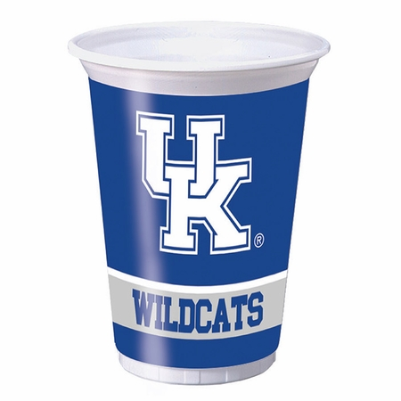 Blue and white University of Kentucky 20 Ounce Plastic Cup sold in quantities of 8 / pkg, 12 pkg / case
