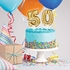 50 Gold Number Balloon Cake Toppers 24 ct