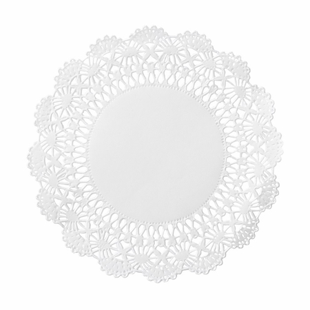 "White Cambridge Lace 4"" Doily sold in quantities of 1000 per case"