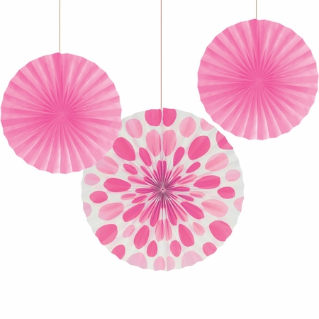 Candy Pink Solid & Polka Dots Tissue Fans sold in quantities of 3 / pkg, 6 pkgs / case