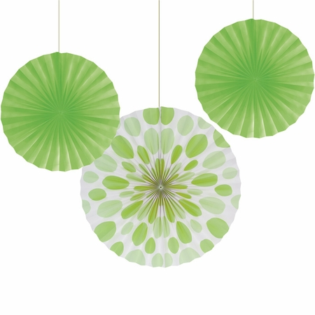 Lime Green Solid & Polka Dots Tissue Fans sold in quantities of 3 / pkg, 6 pkgs / case