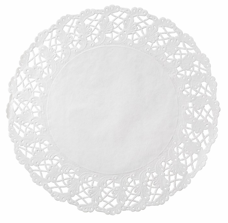 White Kenmore Round Cake Lace Doily sold in quantities of 500 per case