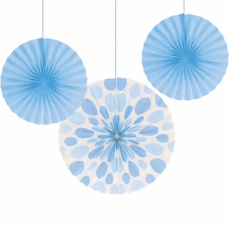 Light Blue Solid & Polka Dots Tissue Fans sold in quantities of 3 / pkg, 6 pkgs / case