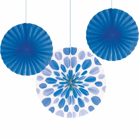 Blue Solid & Polka Dots Tissue Fans sold in quantities of 3 / pkg, 6 pkgs / case
