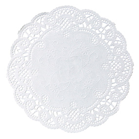 "White French Lace 4"" Doily sold in quantities of 1000 per case"