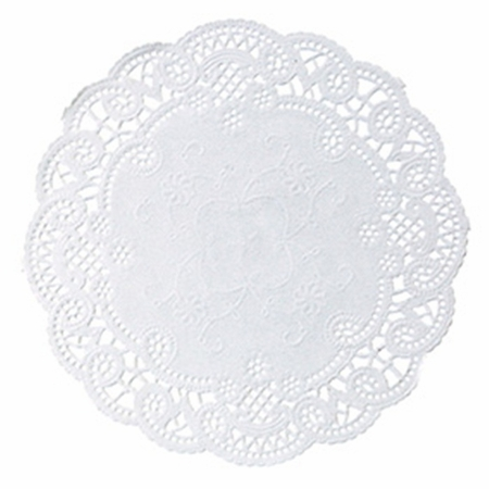 """White French Lace 5"""" Doily sold in quantities of 1000 per case"""