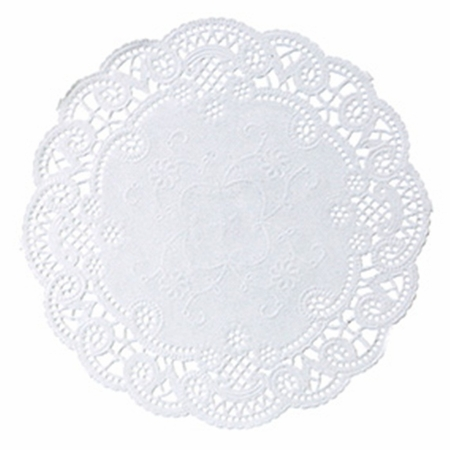 "White French Lace 6"" Doily sold in quantities of 1000 per case"