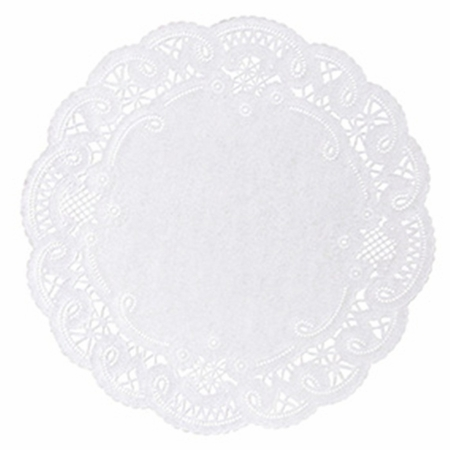 """White French Lace 8"""" Doily sold in quantities of 1000 per case"""