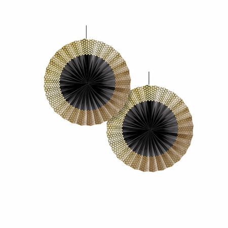 Black and Gold Sequin Paper Fans 24 ct