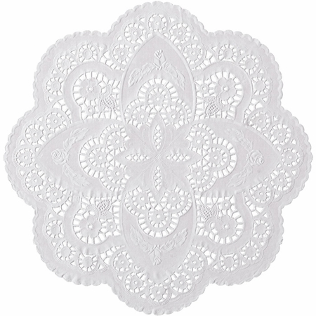 """White French Lace 12"""" Doily sold in quantities of 1000 per case"""