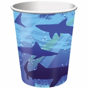 Blue Shark Splash 9 oz Cups sold in quantities of 8 / pkg, 12 pkgs / case