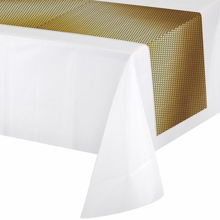 Black and Gold Sequin Plastic Table Runners 6 ct