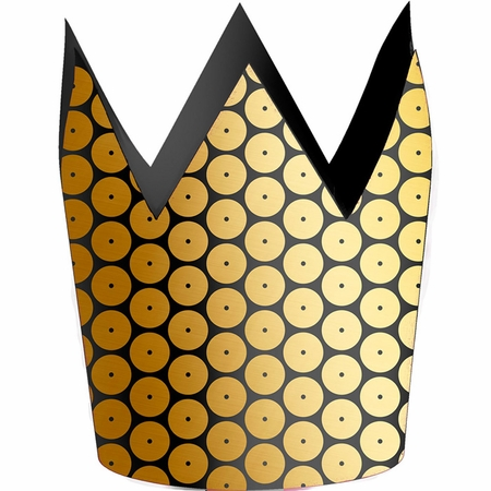 Black and Gold Sequin Crowns 48 ct