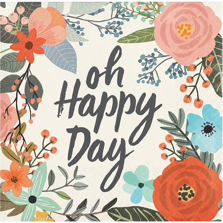 Brush Strokes Oh Happy Day Beverage Napkins 288 ct