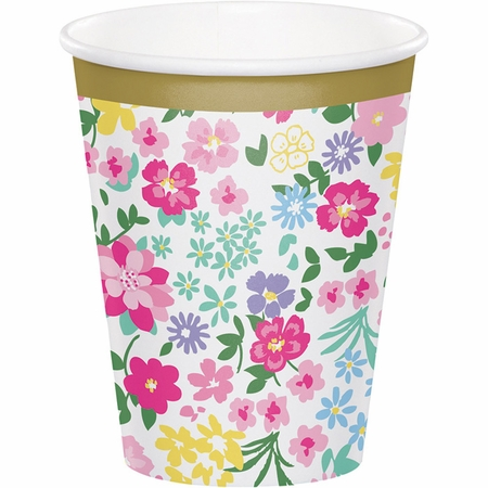 Floral Tea Party Cups 96 ct