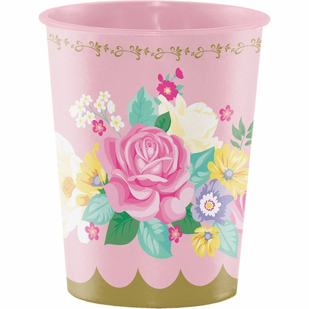 Floral Tea Party 16 oz Plastic Cups 12 ct