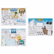 "10"" x 14"" Seashore Games Multipack Paper Placemats 1000 ct"