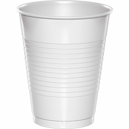 Touch of Color White 16 oz Plastic Cups in quantities of 20 / pkg, 12 pkgs / case