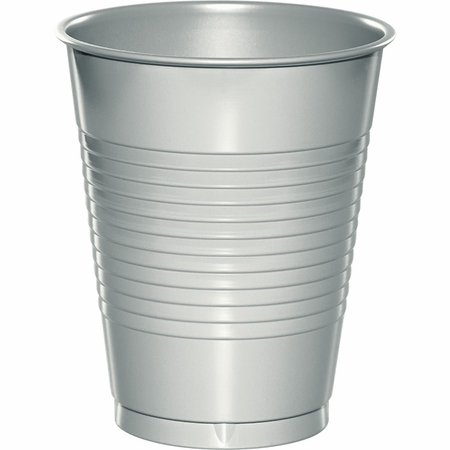 Touch of Color Shimmering Silver 16 oz Plastic Cups in quantities of 20 / pkg, 12 pkgs / case