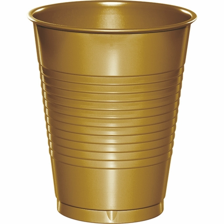 Touch of Color Glittering Gold 16 oz Plastic Cups in quantities of 20 / pkg, 12 pkgs / case