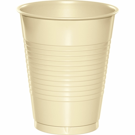 Touch of Color Ivory 16 oz Plastic Cups in quantities of 20 / pkg, 12 pkgs / case