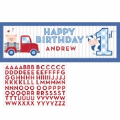 Farmhouse 1st Birthday Boy Large Banners 6 ct