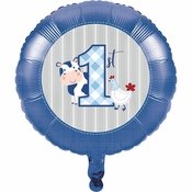 Farmhouse 1st Birthday Boy Mylar Balloons 10 ct