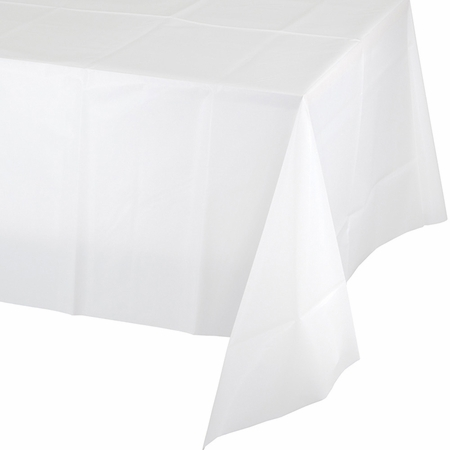 White Plastic Tablecloth 24 ct