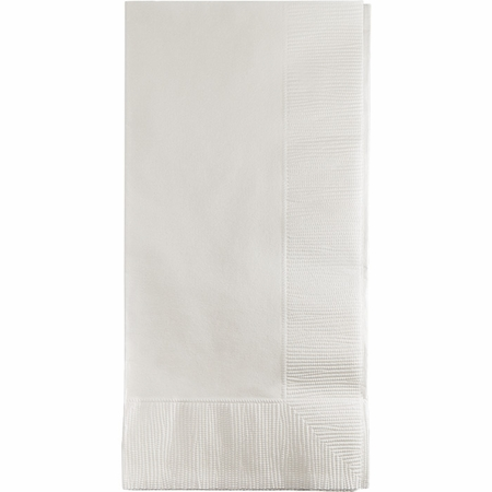Touch of Color White 2 Ply Dinner Napkins in quantities of 50 / pkg, 12 pkgs / case