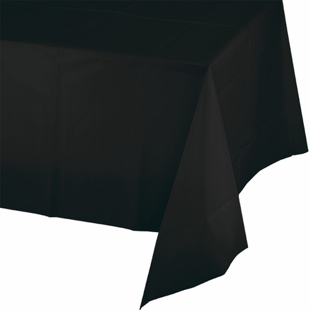 Touch of Color Black Velvet Plastic Tablecloths in quantities of 1 / pkg, 12 pkgs / case