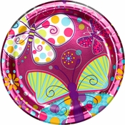 Pink Butterfly Sparkle Dinner Plates sold in quantities of 8 / pkg, 12 pkgs / case.