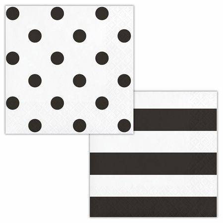 Black Polka Dots and Stripes Beverage Napkins 192 ct
