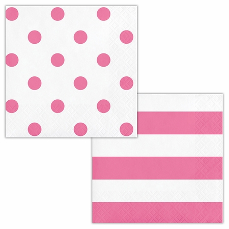 Candy Pink Polka Dots and Stripes Beverage Napkins 192 ct