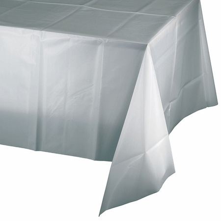 Value Friendly Shimmering Silver Plastic Tablecloths 12 ct