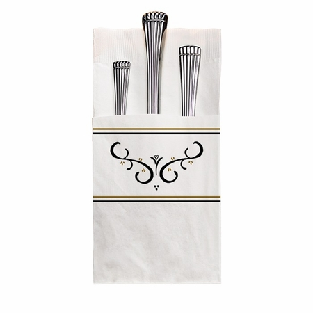 Quickset Recycled White Scroll Dinner Napkins in quantities of 100 / pkg, 8 pkgs / case