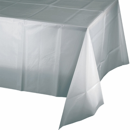 Touch of Color Shimmering Silver Plastic Tablecloths in quantities of 1 / pkg, 12 pkgs / case