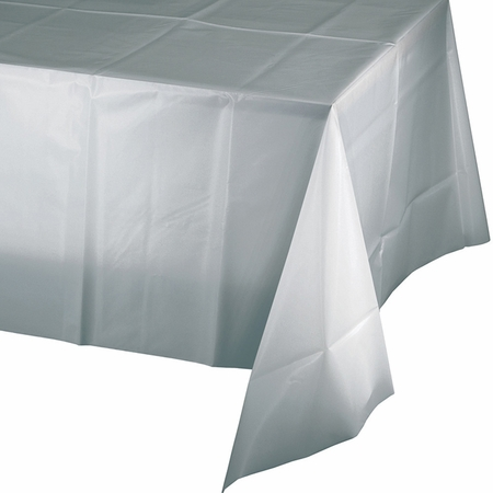 Shimmering Silver Plastic Tablecloth 24 ct