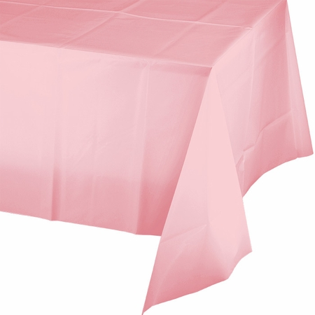 Touch of Color Classic Pink Plastic Tablecloths in quantities of 1 / pkg, 12 pkgs / case