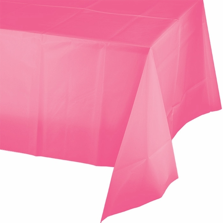 Touch of Color Candy Pink Plastic Tablecloths in quantities of 1 / pkg, 12 pkgs / case