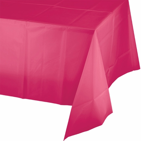 Touch of Color Hot Magenta Plastic Tablecloths in quantities of 1 / pkg, 12 pkgs / case