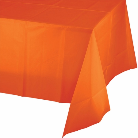 Touch of Color Sunkissed Orange Plastic Tablecloths in quantities of 1 / pkg, 12 pkgs / case