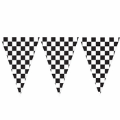 Black and White Check Flag Banners 6 ct