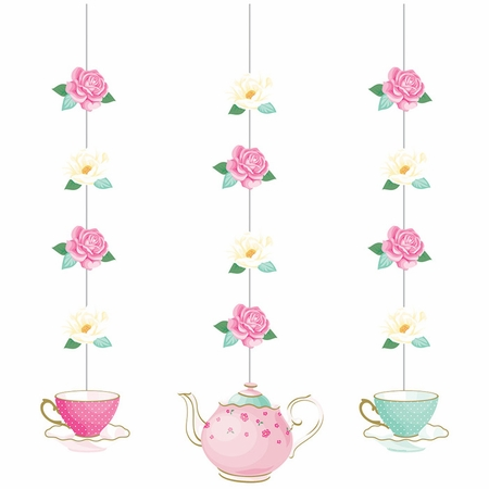 Floral Tea Party Hanging Decorations 36 ct
