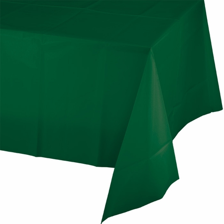 Touch of Color Hunter Green Plastic Tablecloths in quantities of 1 / pkg, 12 pkgs / case