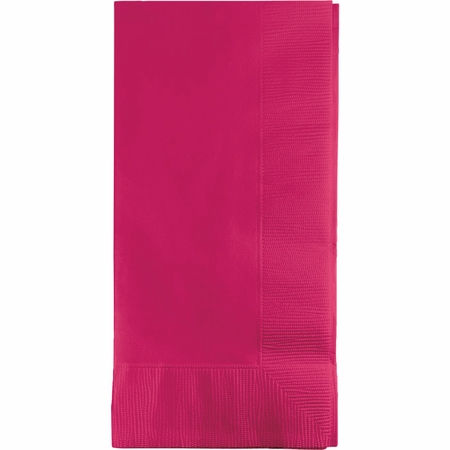 Touch of Color Hot Magenta 2 Ply Dinner Napkins in quantities of 50 / pkg, 12 pkgs / case